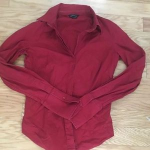 Moda International Solid Red Long Sleeve Shirt